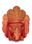 The Carving wood mask of Native indian isolated on white backgro — Foto de Stock