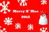 The Snowman card of merry x' mas 2012 — Stock Photo