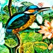 Stock Photo: Painting of kingfisher on ceramic vase background.This is tr