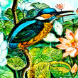 The Painting of kingfisher on ceramic vase background.This is tr — Stock Photo