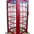 Stock Photo: British red phone booth isolated on white background