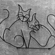 The Wrought iron of cats on wall background — Stock Photo