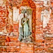 The Ruin of Buddha status and temple of wat mahathat in ayuttha — Stock Photo #10704690
