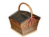 El viejo mimbre cesta estilo tailandés aislado sobre fondo blanco — Foto de Stock