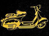 黑色花岗岩背景上雕刻摩托车 — 图库照片