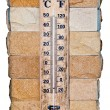 Stock Photo: Wooden celsius fahrenheit thermometer