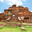 The Ruin of Buddha status and temple of wat mahathat in ayuttha — Stock Photo #10726115