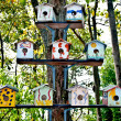 The Wooden of birdhouse family on tree — Stock Photo