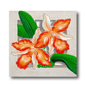The Relief carving of orchid isolated on white background — Foto de Stock