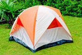 The Orange tent in the forest — Stock Photo
