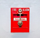 The Fire alarm embedded in the wall background — Stock Photo