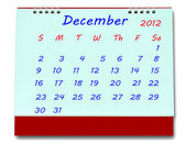 The Calendar of december 2012 isolated on white background — Stock Photo