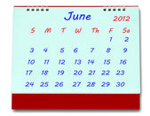 The Calendar of june 2012 isolated on white background — Stock Photo