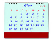The Calendar of may 2012 isolated on white background — Stock Photo