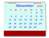 The Calendar of november 2012 isolated on white background — Stock Photo