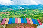 The Colorful of bench on view mountain — Stock Photo