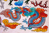 The Colorful of old painting dragon on wall in joss house — Stock Photo