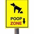 The Sign of dog poop zone isolated on white background — Stock Photo #9611285