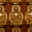 The Row of buddha status in temple - 图库照片