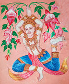 The Painting of deva on wall in the temple.This is traditional a — Stock Photo