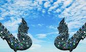 Вуд резьба Нага, изолированные на фоне голубого неба — Стоковое фото