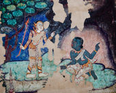 The Ancient painting of buddhist temple mural at Wat Phra sing, — Stok fotoğraf