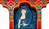 La scultura lo status di buddha di stile bhutan su wood.this è tradiz — Foto Stock