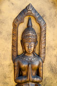 The Sculpture of deva status on meditation style — Stock Photo