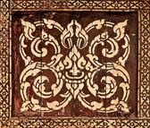 上的传统泰式风格艺术金画图案木我 — 图库照片