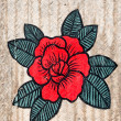 The Painting of red rose on wall — Stock Photo