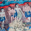 The Ancient painting of buddhist temple mural at Wat Phra sing, - Stock Photo