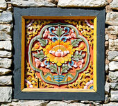 Bhútán dřeva pohřbít do zdi — Stock fotografie