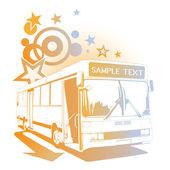 Retro cheerful bus — Stock Vector