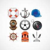 Marine travel icons — Stock Vector