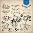Calligraphic design elements and page decoration - Stok Vektr