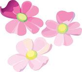 Set of three violet flowers — Stock Vector
