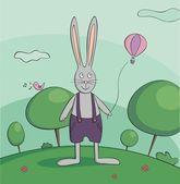ウォーキング ウサギ ベクトル イラスト — ストックベクタ