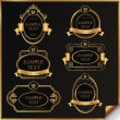 Stock Vector: Black gold-framed labels