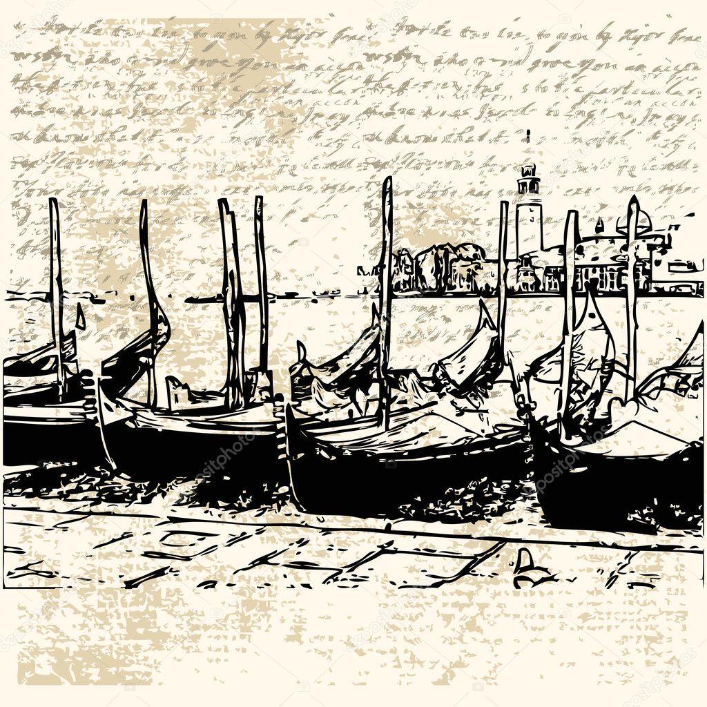 как нарисовать лодку гондолу