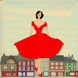 Retro Happy, Girl in red 1950 — Stok Vektör