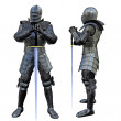 Knight Swordsman in Full Armour, 3D render — Stock Photo #10160306