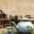 Vintage Tea Rooms 3D Illustration — Stock Photo