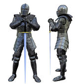 Knight Swordsman in Full Armour, 3D render — Stock Photo