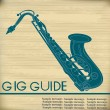Royalty-Free Stock Imagen vectorial: Retro Saxophone Gig Guide Background