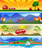 Camping and Caravaning — Stock Vector