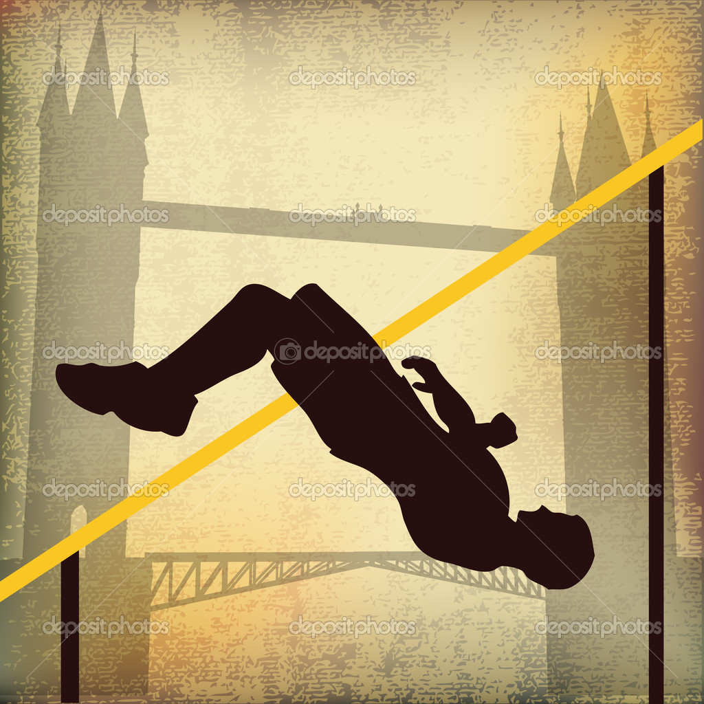 London 2012, High Jump and Tower Bridge Background Illustration — Stock Vector #9355314