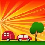 Sunny Caravaning — Stock Vector #9429270
