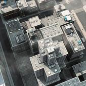 Luftbild von einer großen stadt — Stockfoto