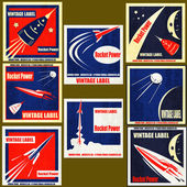 Retro Space Rockets Vintage Labels — Stock Vector