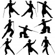 Debonair Dancer Silhouettes - Stock Vector